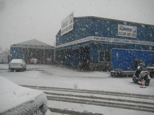 Big storm in our truck park company in 2010 Barcelona